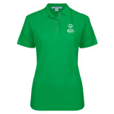 Ladies Easycare Kelly Green Pique Polo-Primary Mark Vertical