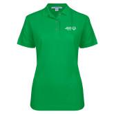 Ladies Easycare Kelly Green Pique Polo-Primary Mark Horizontal