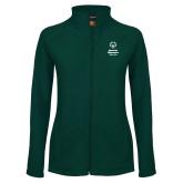 Ladies Fleece Full Zip Dark Green Jacket-Primary Mark Vertical