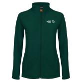 Ladies Fleece Full Zip Dark Green Jacket-Primary Mark Horizontal