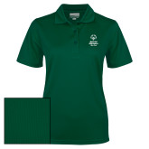 Ladies Dark Green Dry Mesh Polo-Primary Mark Vertical