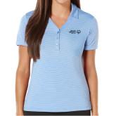 Ladies Callaway Core Stripe Light Blue/White Polo-Primary Mark Horizontal