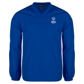 V Neck Royal Raglan Windshirt-Primary Mark Vertical