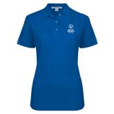 Ladies Easycare Royal Pique Polo-Primary Mark Vertical