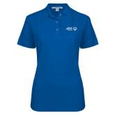 Ladies Easycare Royal Pique Polo-Primary Mark Horizontal