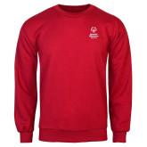 Red Fleece Crew-Primary Mark Vertical