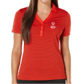 Ladies Callaway Core Stripe Red/Black Polo-Primary Mark Vertical