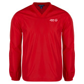 V Neck Red Raglan Windshirt-Primary Mark Horizontal