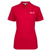 Ladies Easycare Red Pique Polo-Primary Mark Horizontal