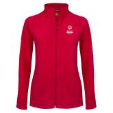 Ladies Fleece Full Zip Red Jacket-Primary Mark Vertical