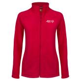 Ladies Fleece Full Zip Red Jacket-Primary Mark Horizontal