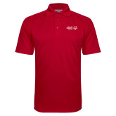 Red Textured Saddle Shoulder Polo-Primary Mark Horizontal