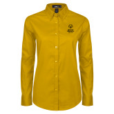Ladies Gold Twill Button Down Long Sleeve-Primary Mark Vertical