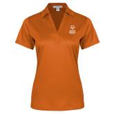 Ladies Orange Performance Fine Jacquard Polo-Primary Mark Vertical
