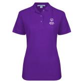 Ladies Easycare Purple Pique Polo-Primary Mark Vertical