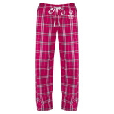 Ladies Dark Fuchsia/White Flannel Pajama Pant-Primary Mark Vertical