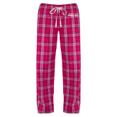 Ladies Dark Fuchsia/White Flannel Pajama Pant-Primary Mark Horizontal