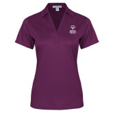 Ladies Purple Performance Fine Jacquard Polo-Primary Mark Vertical