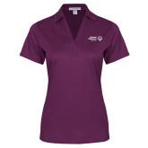 Ladies Purple Performance Fine Jacquard Polo-Primary Mark Horizontal