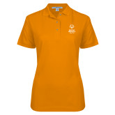 Ladies Easycare Orange Pique Polo-Primary Mark Vertical