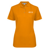 Ladies Easycare Orange Pique Polo-Primary Mark Horizontal