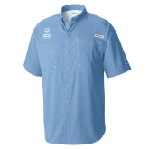 Columbia Tamiami Performance Light Blue Short Sleeve Shirt-Primary Mark Vertical