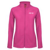 Ladies Fleece Full Zip Raspberry Jacket-Primary Mark Horizontal
