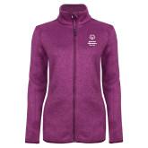 Dark Pink Heather Ladies Fleece Jacket-Primary Mark Vertical