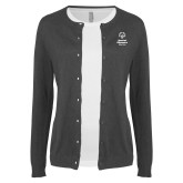 Ladies Charcoal Cardigan-Primary Mark Vertical