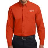 Orange Twill Button Down Long Sleeve-Primary Mark Horizontal