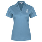 Ladies Light Blue Performance Fine Jacquard Polo-Primary Mark Vertical