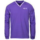 Colorblock V Neck Purple/White Raglan Windshirt-Primary Mark Horizontal