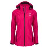 Ladies Dark Fuchsia Waterproof Jacket-Primary Mark Vertical