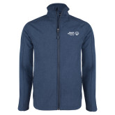 Navy Heather Softshell Jacket-Primary Mark Horizontal