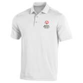 Under Armour White Performance Polo-Primary Mark Vertical
