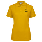 Ladies Easycare Gold Pique Polo-Primary Mark Vertical