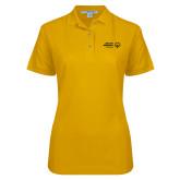 Ladies Easycare Gold Pique Polo-Primary Mark Horizontal