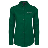 Ladies Dark Green Twill Button Down Long Sleeve-Primary Mark Horizontal