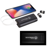 LIGHT UP LOGO Wireless Earbuds w/UL Powerbank-Primary Mark One Line Horizontal Engrave