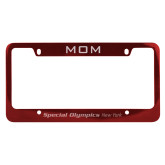 Mom Metal Red License Plate Frame-Flat Word Mark Engraved