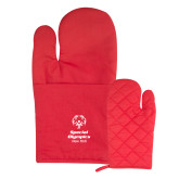 Quilted Canvas Red Oven Mitt-Primary Mark Vertical