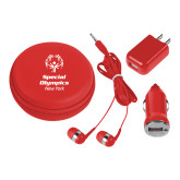 3 in 1 Red Audio Travel Kit-Primary Mark Vertical