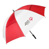 62 Inch Red/White Vented Umbrella-Primary Mark Horizontal