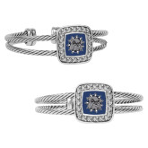 Crystal Studded Cable Cuff Bracelet With Square Pendant-Bulldog Head