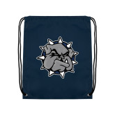 Navy Drawstring Backpack-Bulldog Head