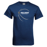 Navy T Shirt-Basketball Side View Design