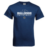 Navy T Shirt-Volleyball Half Ball Design