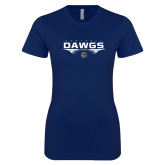 Next Level Ladies SoftStyle Junior Fitted Navy Tee-Abstract Football Design