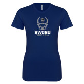 Next Level Ladies SoftStyle Junior Fitted Navy Tee-Football Helmet Design