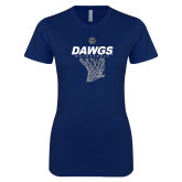 Next Level Ladies SoftStyle Junior Fitted Navy Tee-Basketball Net Design